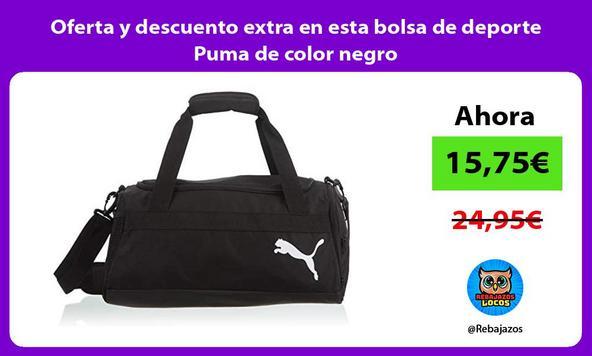 Oferta y descuento extra en esta bolsa de deporte Puma de color negro