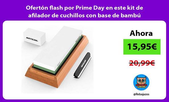 Ofertón flash por Prime Day en este kit de afilador de cuchillos con base de bambú antideslizante
