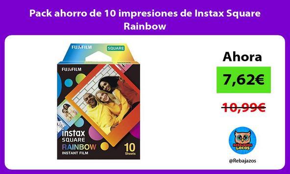 Pack ahorro de 10 impresiones de Instax Square Rainbow