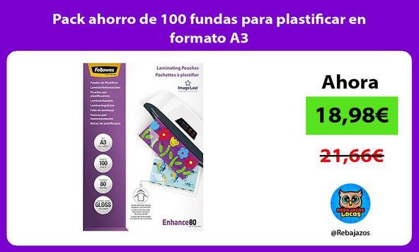 Pack ahorro de 100 fundas para plastificar en formato A3
