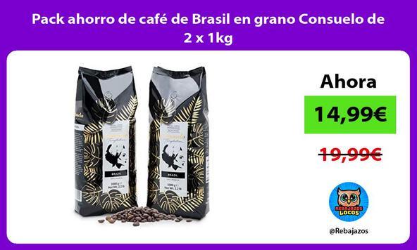 Pack ahorro de café de Brasil en grano Consuelo de 2 x 1kg