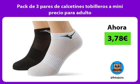Pack de 3 pares de calcetines tobilleros a mini precio para adulto
