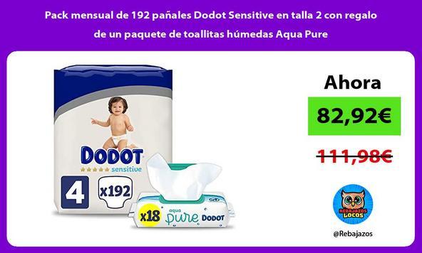 Pack mensual de 192 pañales Dodot Sensitive en talla 2 con regalo de un paquete de toallitas húmedas Aqua Pure