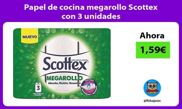 Papel de cocina megarollo Scottex con 3 unidades