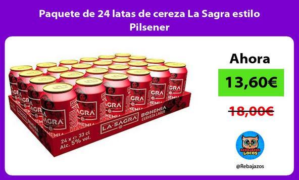 Paquete de 24 latas de cereza La Sagra estilo Pilsener