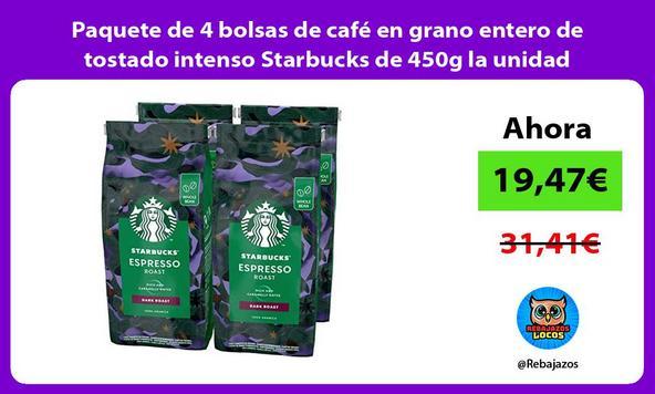 Paquete de 4 bolsas de café en grano entero de tostado intenso Starbucks de 450g la unidad