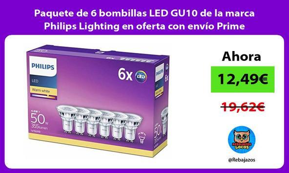 Paquete de 6 bombillas LED GU10 de la marca Philips Lighting en oferta con envío Prime