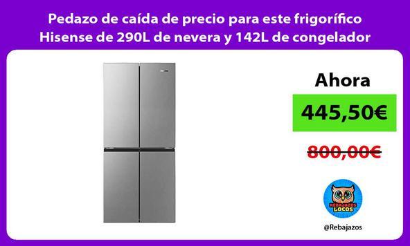 Pedazo de caída de precio para este frigorífico Hisense de 290L de nevera y 142L de congelador