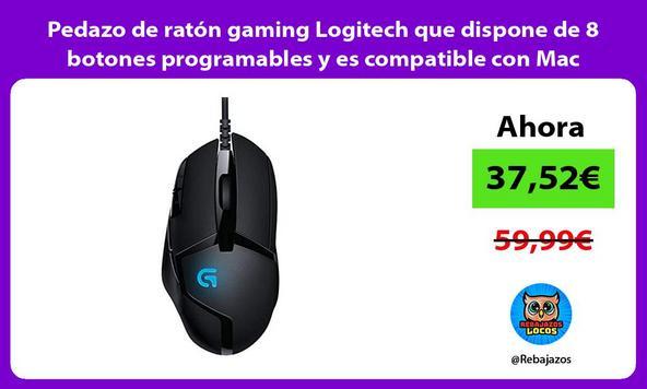 Pedazo de ratón gaming Logitech que dispone de 8 botones programables y es compatible con Mac