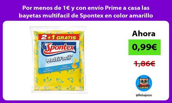 Por menos de 1€ y con envío Prime a casa las bayetas multifacil de Spontex en color amarillo