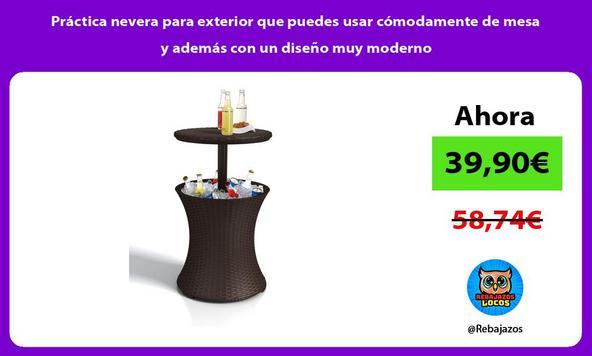 Práctica nevera para exterior que puedes usar cómodamente de mesa y además con un diseño muy moderno