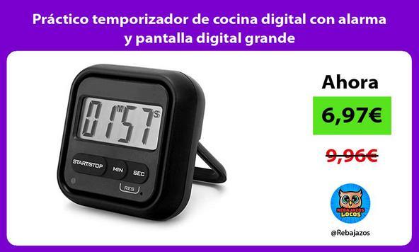 Práctico temporizador de cocina digital con alarma y pantalla digital grande