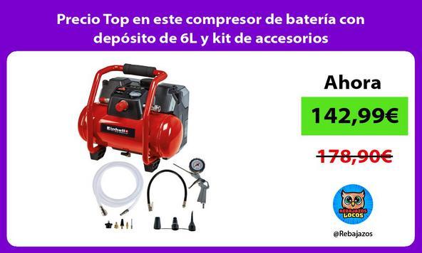 Precio Top en este compresor de batería con depósito de 6L y kit de accesorios