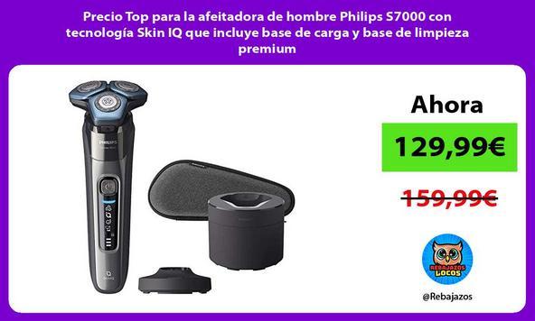 Precio Top para la afeitadora de hombre Philips S7000 con tecnología Skin IQ que incluye base de carga y base de limpieza premium