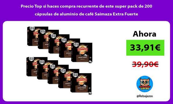 Precio Top si haces compra recurrente de este super pack de 200 cápsulas de aluminio de café Saimaza Extra Fuerte