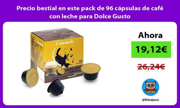 Precio bestial en este pack de 96 cápsulas de café con leche para Dolce Gusto