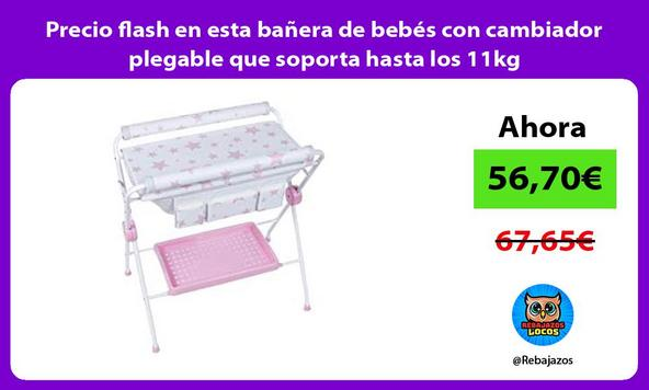 Precio flash en esta bañera de bebés con cambiador plegable que soporta hasta los 11kg