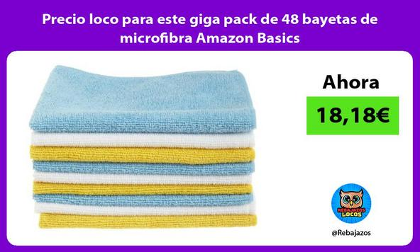Precio loco para este giga pack de 48 bayetas de microfibra Amazon Basics