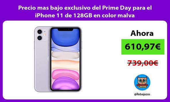 Precio mas bajo exclusivo del Prime Day para el iPhone 11 de 128GB en color malva