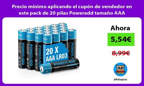 Precio mínimo aplicando el cupón de vendedor en este pack de 20 pilas Poweradd tamaño AAA