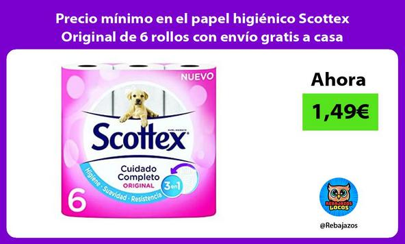 Precio mínimo en el papel higiénico Scottex Original de 6 rollos con envío gratis a casa