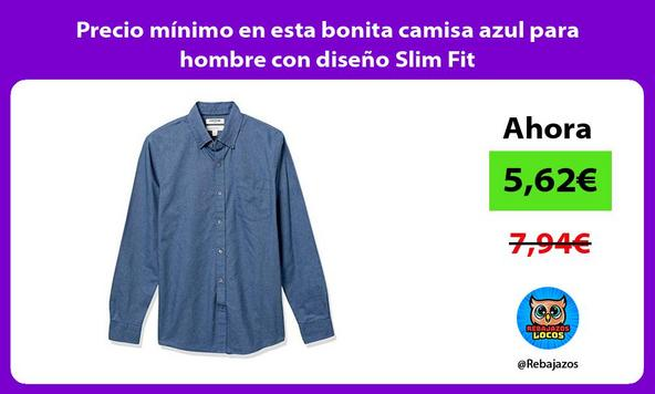 Precio mínimo en esta bonita camisa azul para hombre con diseño Slim Fit