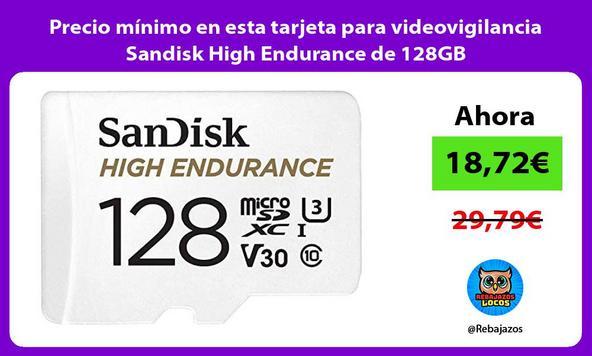 Precio mínimo en esta tarjeta para videovigilancia Sandisk High Endurance de 128GB