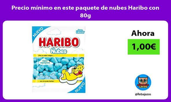 Precio mínimo en este paquete de nubes Haribo con 80g