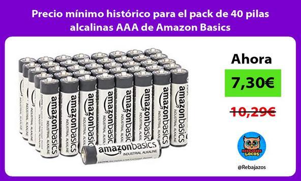 Precio mínimo histórico para el pack de 40 pilas alcalinas AAA de Amazon Basics