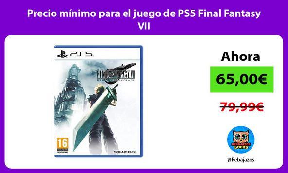 Precio mínimo para el juego de PS5 Final Fantasy VII