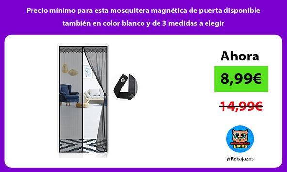 Precio mínimo para esta mosquitera magnética de puerta disponible también en color blanco y de 3 medidas a elegir