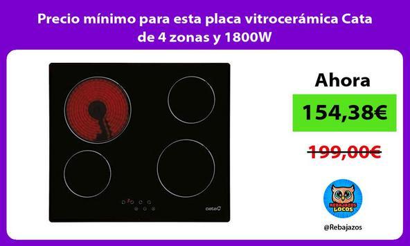 Precio mínimo para esta placa vitrocerámica Cata de 4 zonas y 1800W