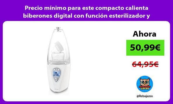 Precio mínimo para este compacto calienta biberones digital con función esterilizador y programador