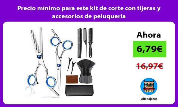 Precio mínimo para este kit de corte con tijeras y accesorios de peluquería