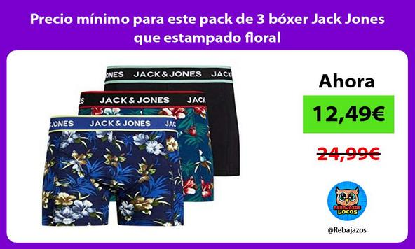 Precio mínimo para este pack de 3 bóxer Jack Jones que estampado floral