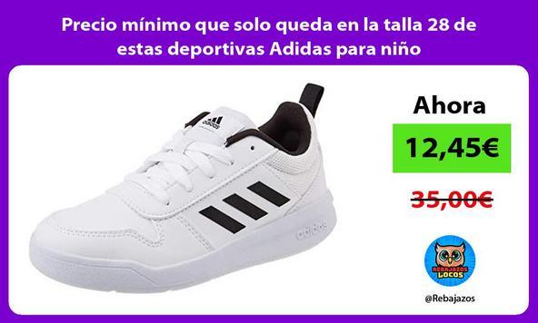 Precio mínimo que solo queda en la talla 28 de estas deportivas Adidas para niño