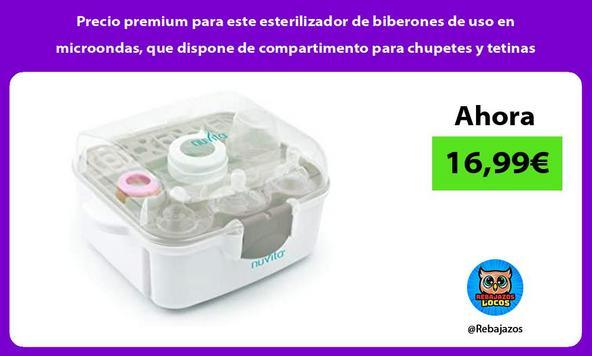 Precio premium para este esterilizador de biberones de uso en microondas, que dispone de compartimento para chupetes y tetinas