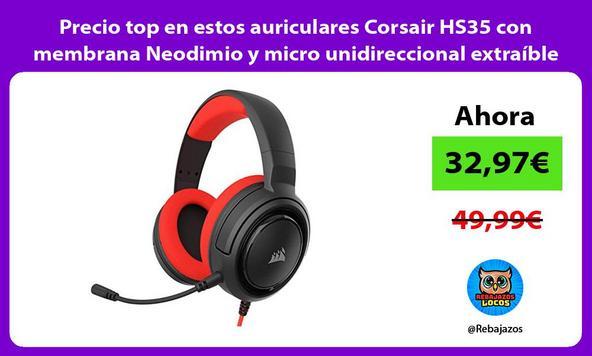 Precio top en estos auriculares Corsair HS35 con membrana Neodimio y micro unidireccional extraíble