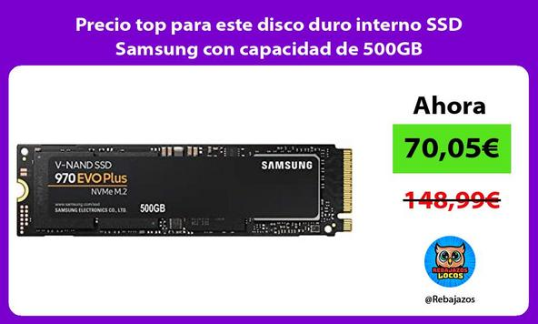 Precio top para este disco duro interno SSD Samsung con capacidad de 500GB