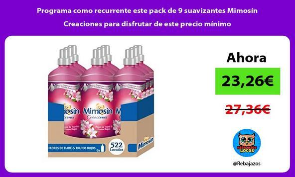 Programa como recurrente este pack de 9 suavizantes Mimosín Creaciones para disfrutar de este precio mínimo