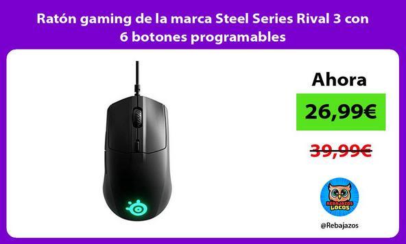 Ratón gaming de la marca Steel Series Rival 3 con 6 botones programables