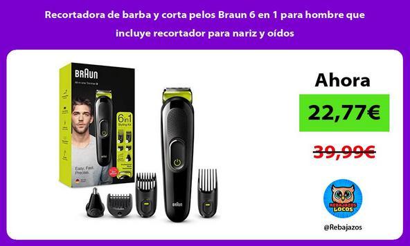 Recortadora de barba y corta pelos Braun 6 en 1 para hombre que incluye recortador para nariz y oídos