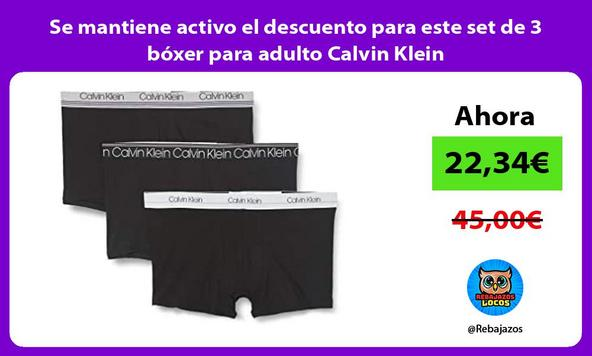 Se mantiene activo el descuento para este set de 3 bóxer para adulto Calvin Klein