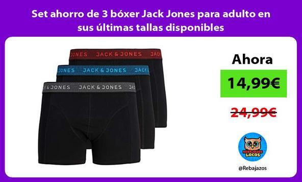 Set ahorro de 3 bóxer Jack Jones para adulto en sus últimas tallas disponibles
