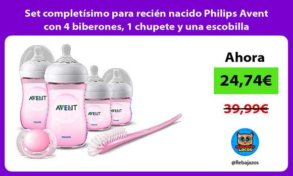 Set completísimo para recién nacido Philips Avent con 4 biberones, 1 chupete y una escobilla