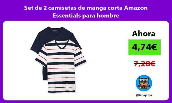 Set de 2 camisetas de manga corta Amazon Essentials para hombre