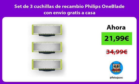 Set de 3 cuchillas de recambio Philips OneBlade con envío gratis a casa