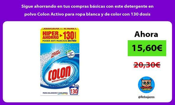 Sigue ahorrando en tus compras básicas con este detergente en polvo Colon Activo para ropa blanca y de color con 130 dosis