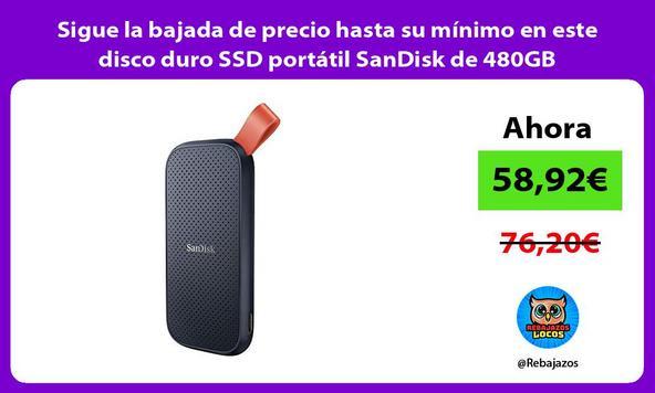 Sigue la bajada de precio hasta su mínimo en este disco duro SSD portátil SanDisk de 480GB