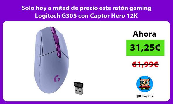 Solo hoy a mitad de precio este ratón gaming Logitech G305 con Captor Hero 12K